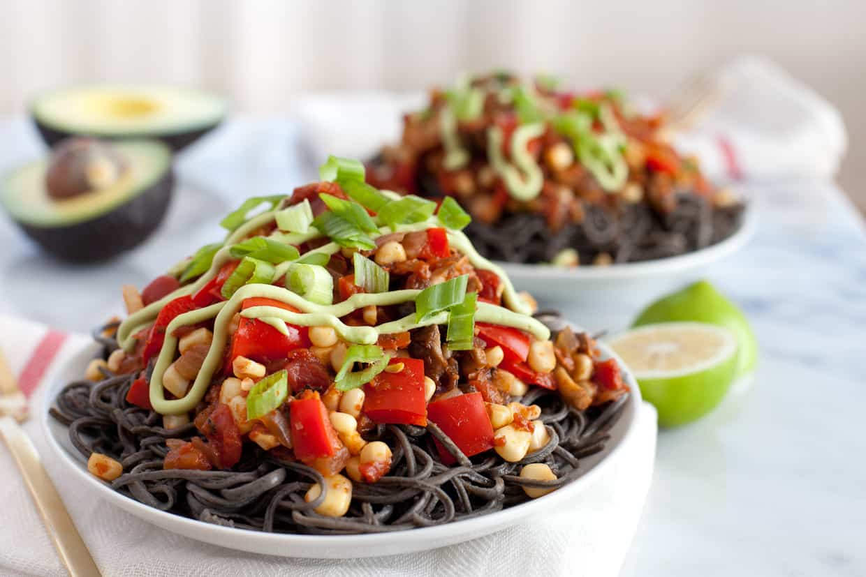 Southwestern Black Bean Spaghetti with Avocado Crema