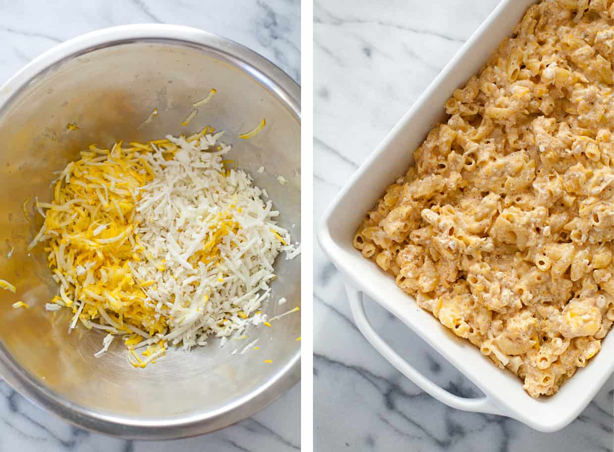 Baked Veggie & Cauliflower Macaroni and Cheese with Yellow Squash