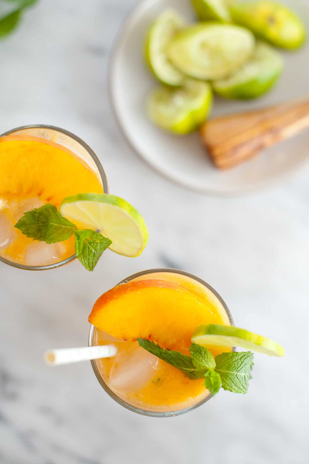 Peach Mojito Mocktail Drink