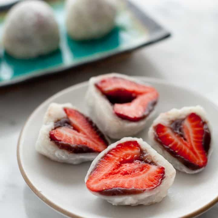 Strawberry mochi with red bean