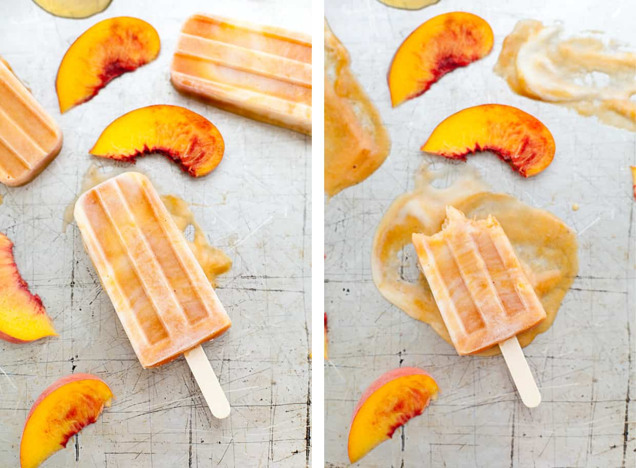 Roasted peaches and cream popsicles - Snixy Kitchen