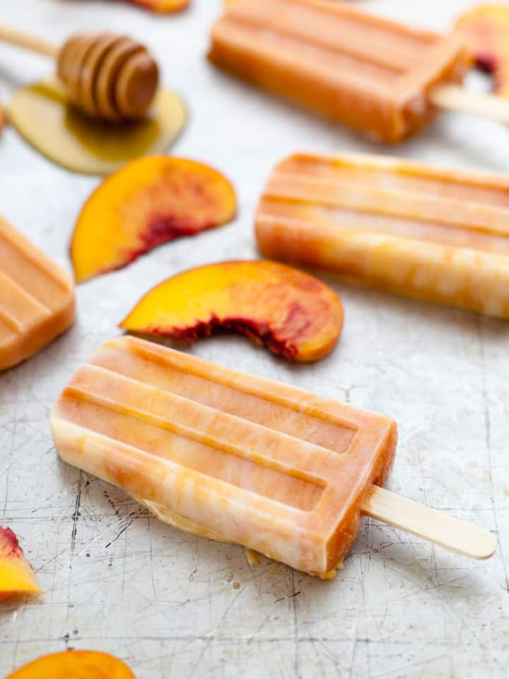 Roasted Peaches & Cream Popsicles