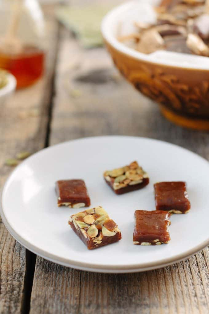 Honey Pumpkin Caramels with Toasted Pepitas