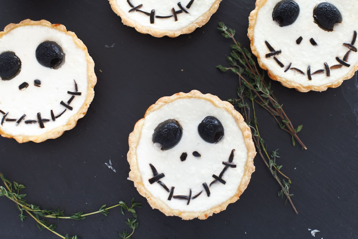 Jack Skellington Ricotta and Olive Tart