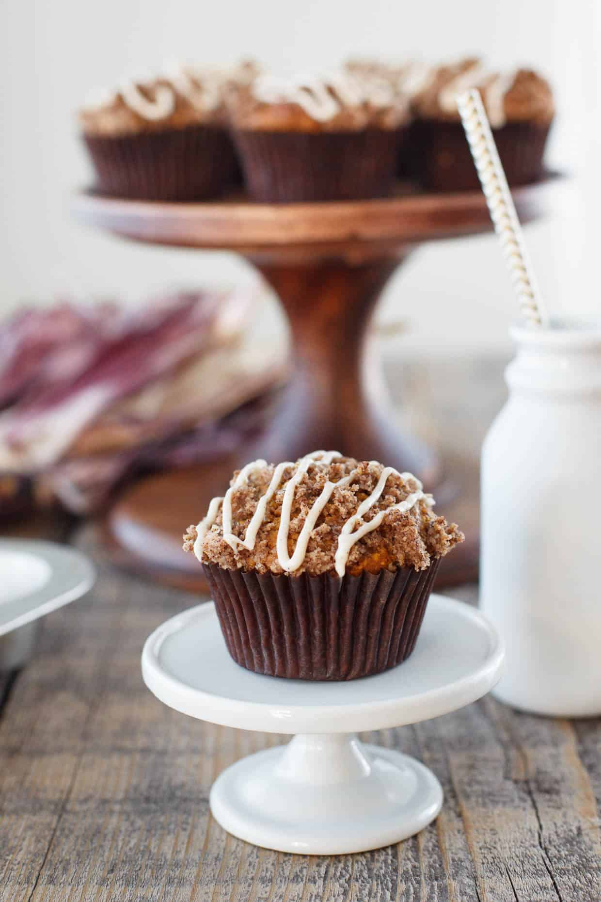 Pumpkin Spice Muffins with Cinnamon Cream Cheese Glaze - Snixy Kitchen