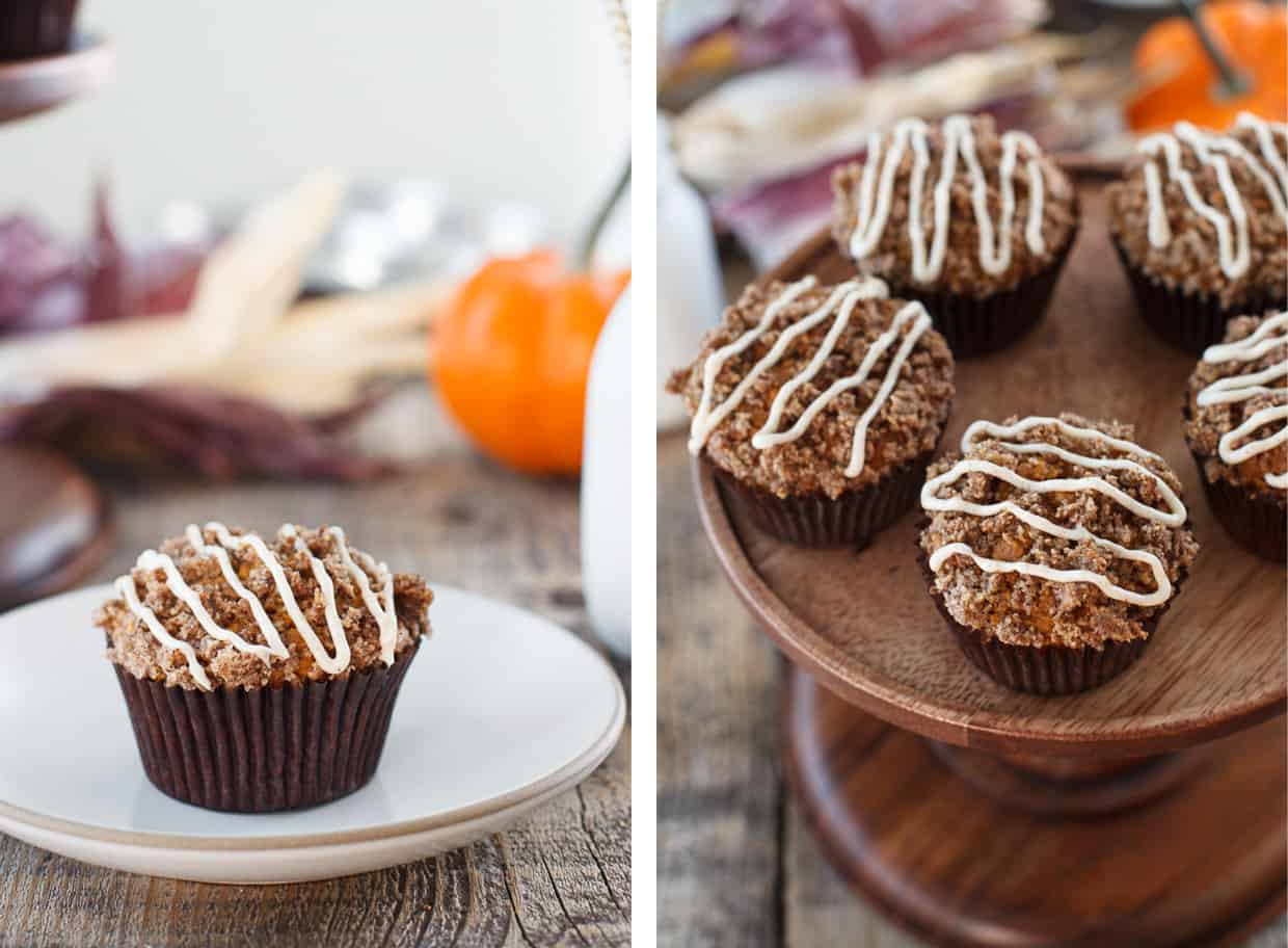 Pumpkin Spice Muffins with Cream Cheese Drizzle