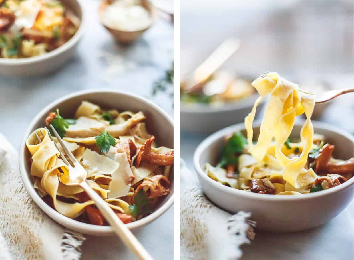 Chickpea Pasta with Chanterelles