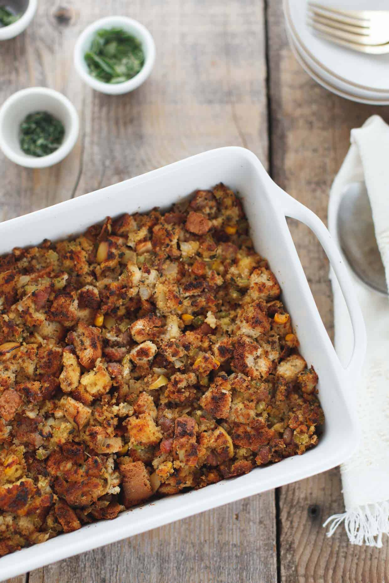 Apple and Sausage Cornbread Stuffing with Sage {gluten-free} - Snixy ...
