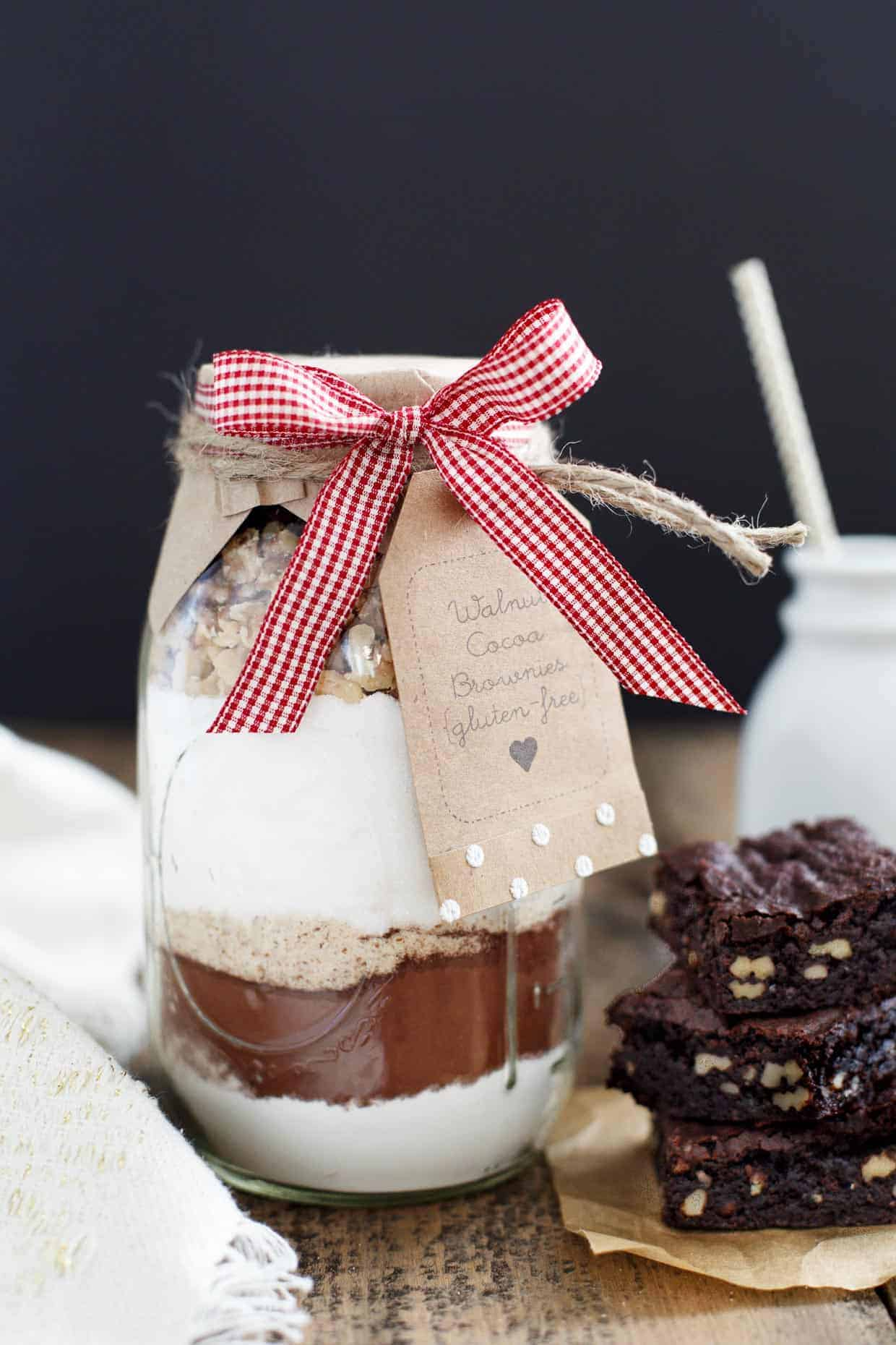 Gift in a Jar: Walnut Cocoa Brownies