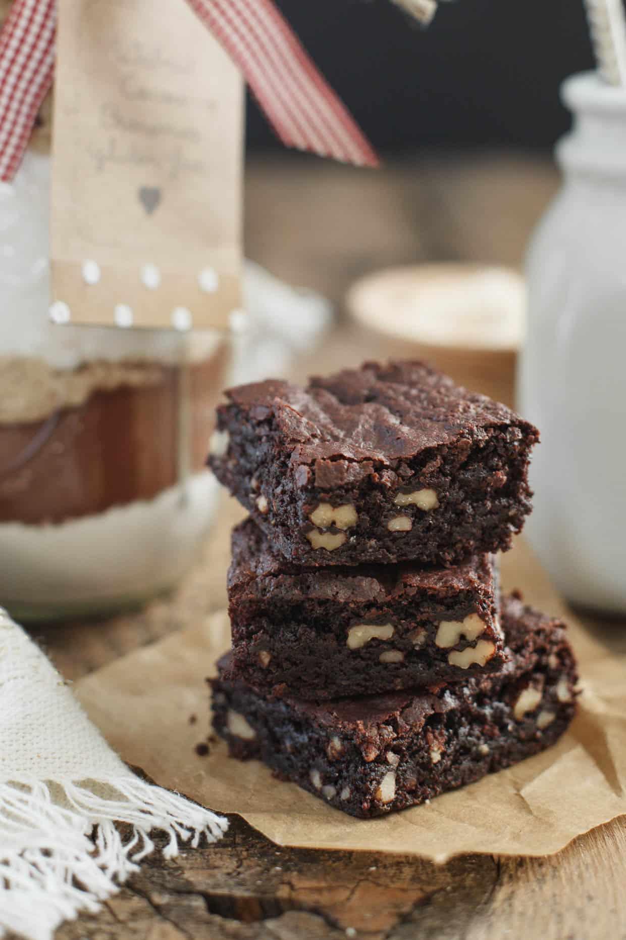 Walnut Cocoa Brownies in a Jar