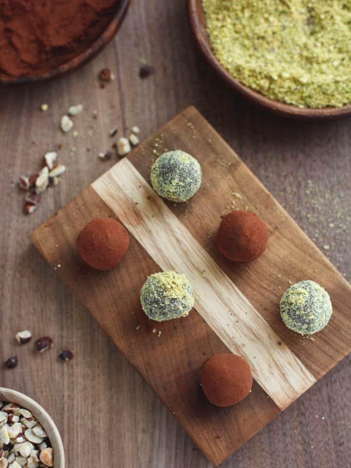 Healthy Nutella and Pistachio Truffles
