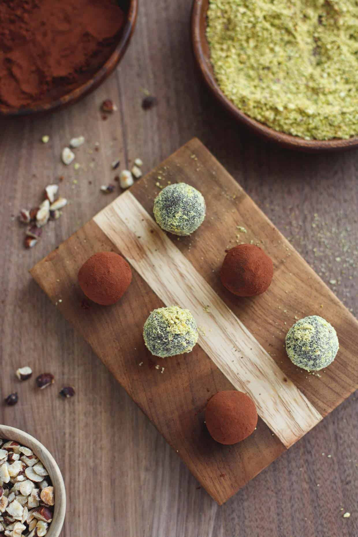 Healthy Nutella and Pistachio Truffles