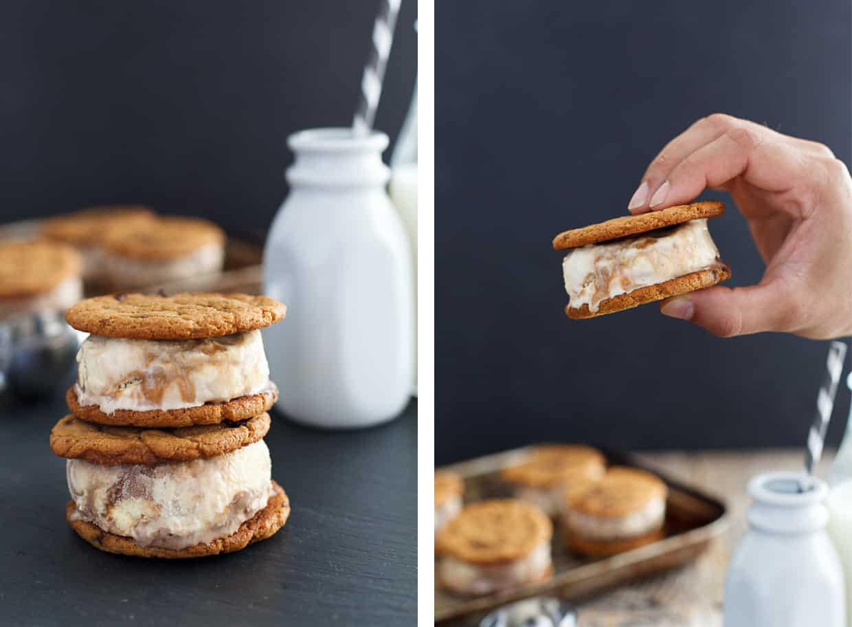 Peanut Butter Cookies Ice Cream Sandwiches