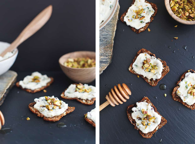 Pistachio Herbed Ricotta Crackers