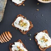 Pistachio Basil Ricotta Spread with Honey
