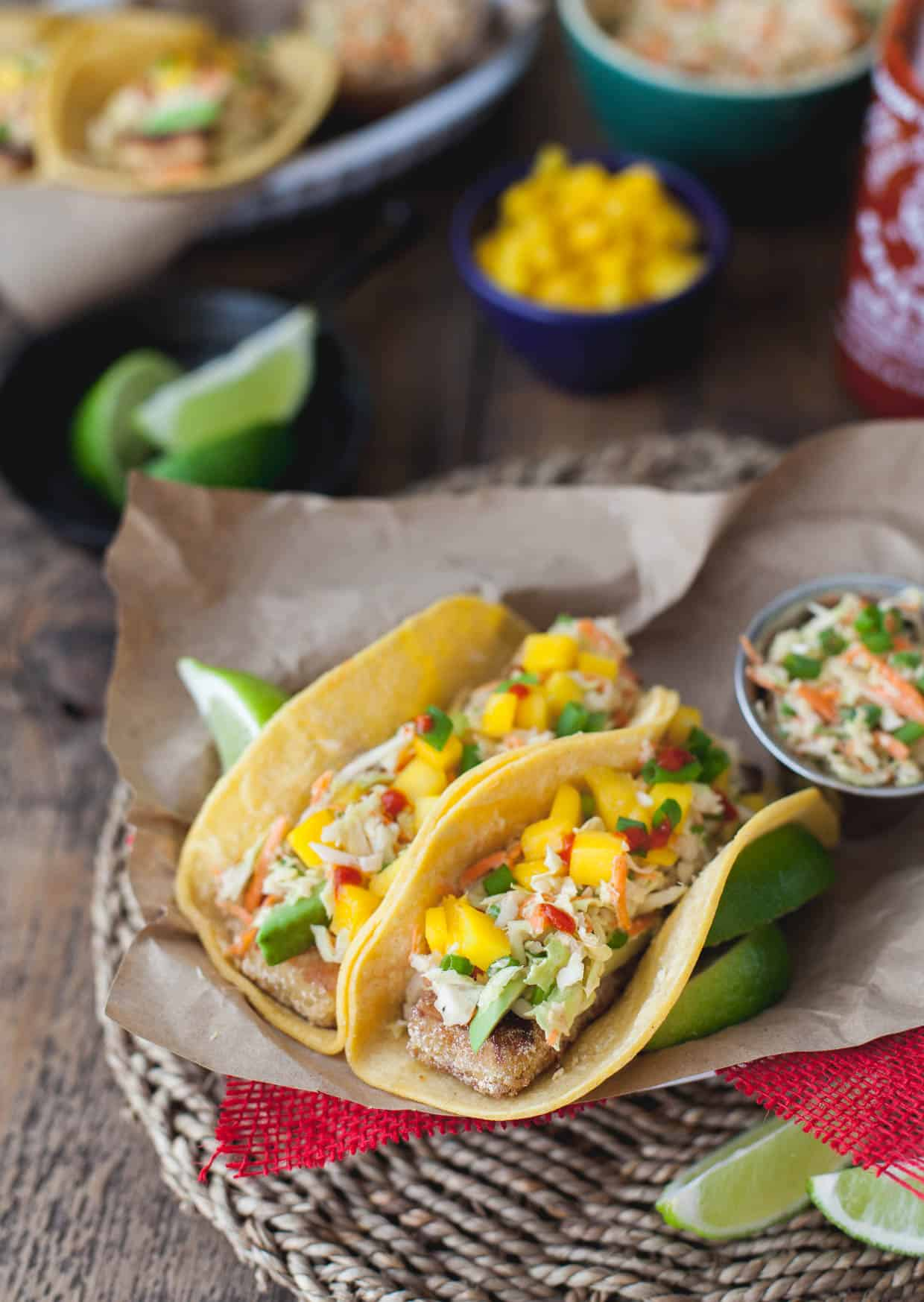Buttermilk Fried Tofu Tacos with Cabbage Slaw