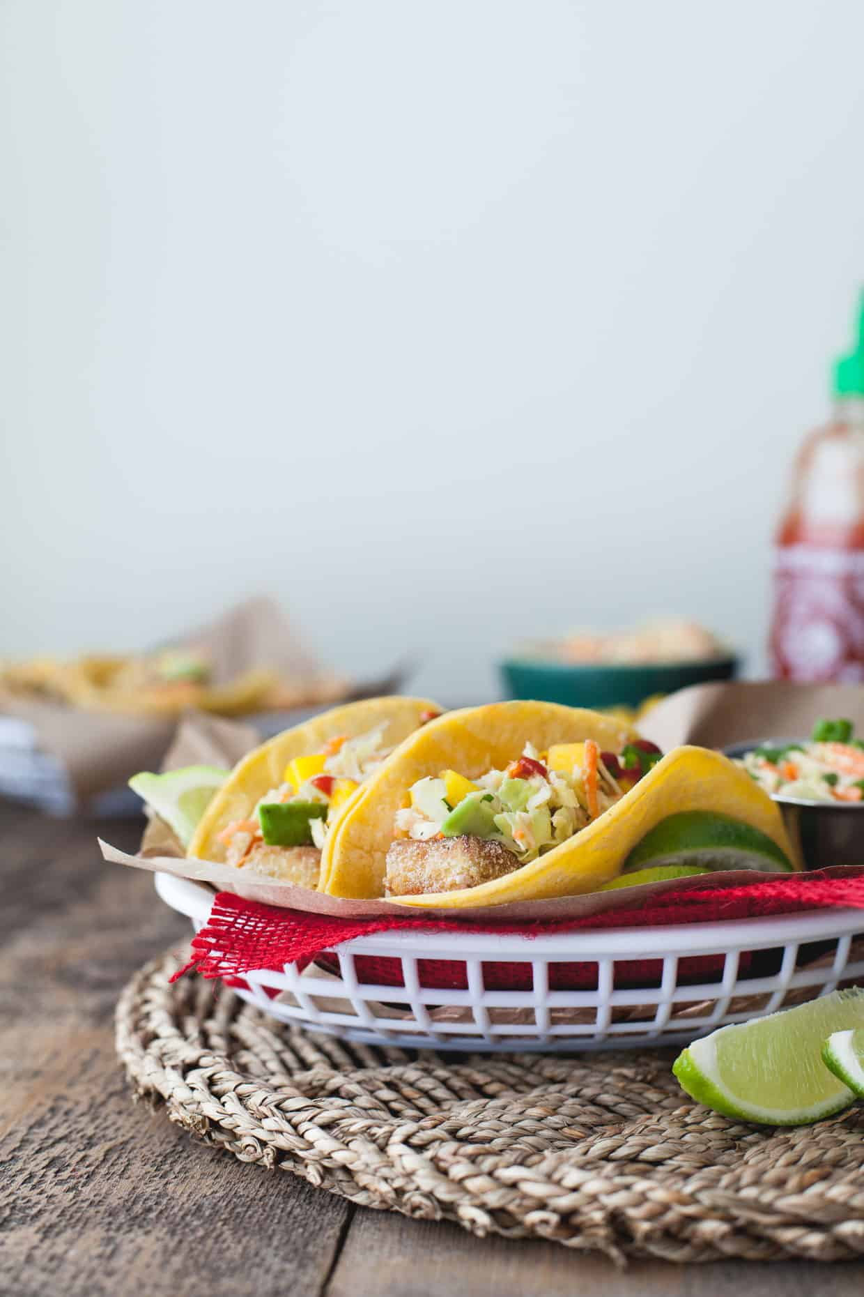 Buttermilk Fried Tofu Tacos with Lime Jalapeno Slaw