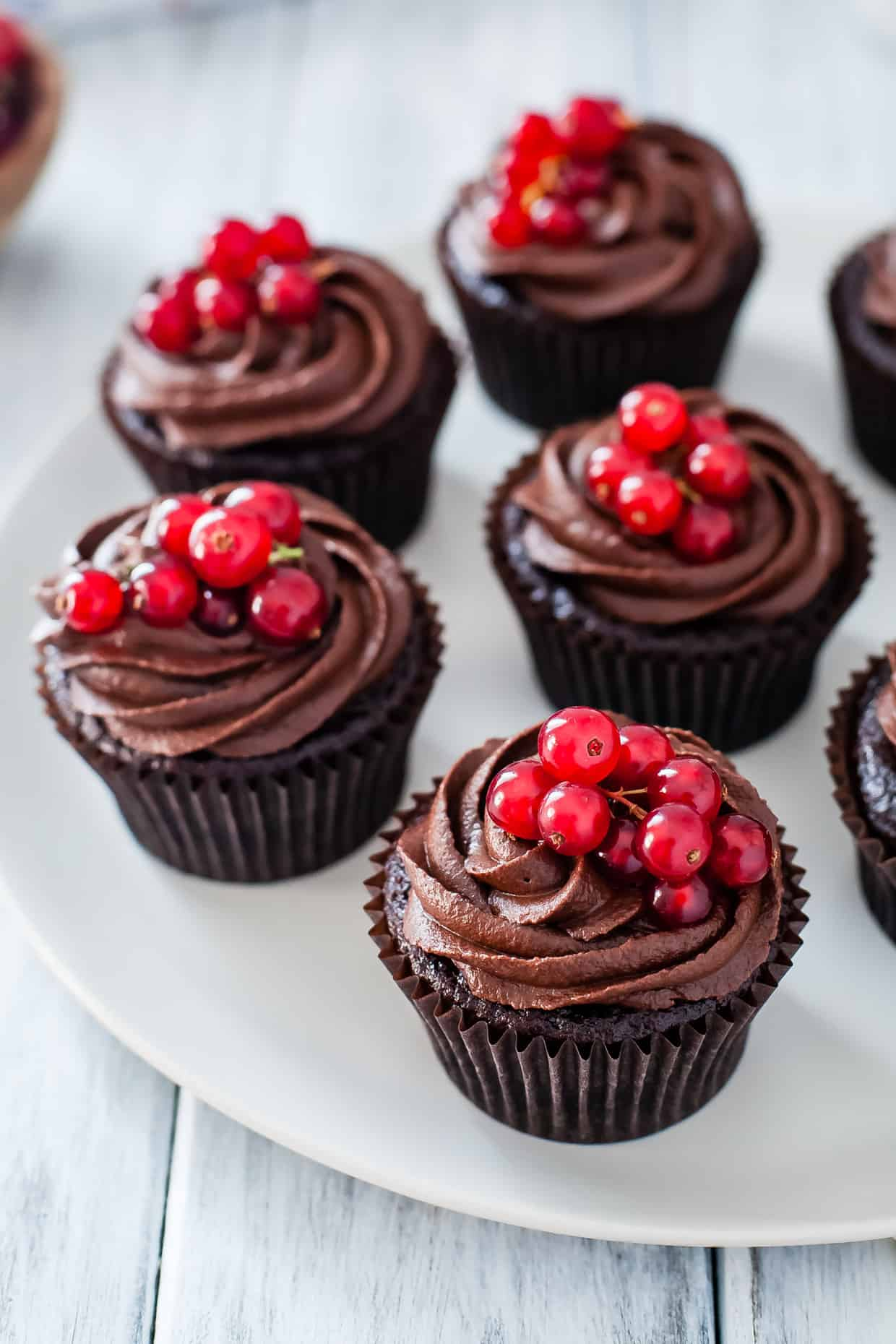 Gluten-Free Double Chocolate Cupcakes with Currant Filling