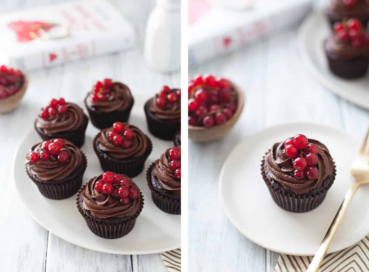 Gluten-Free Double Chocolate Cupcakes with Raspberry Currant Filling