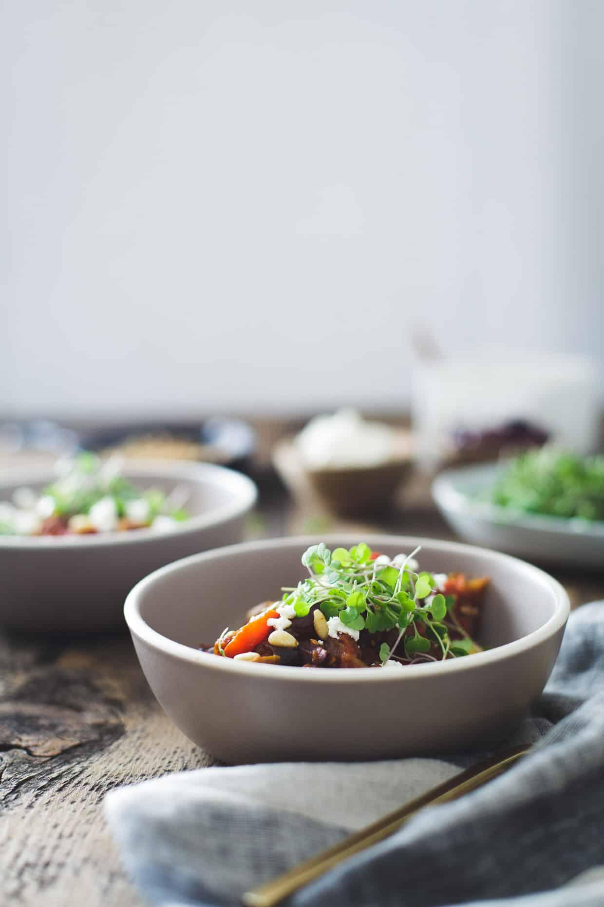 Tomato Eggplant Stew over Polenta