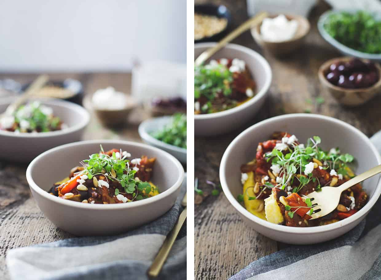 Tomato Eggplant Stew with Feta and Arugula