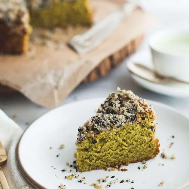 Gluten-Free Matcha Cake with Black Sesame Streusel