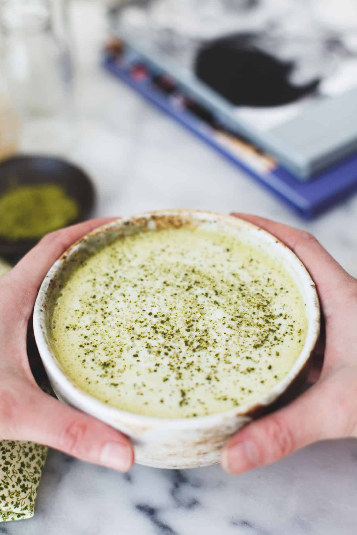 Warm White Chocolate Matcha Latte