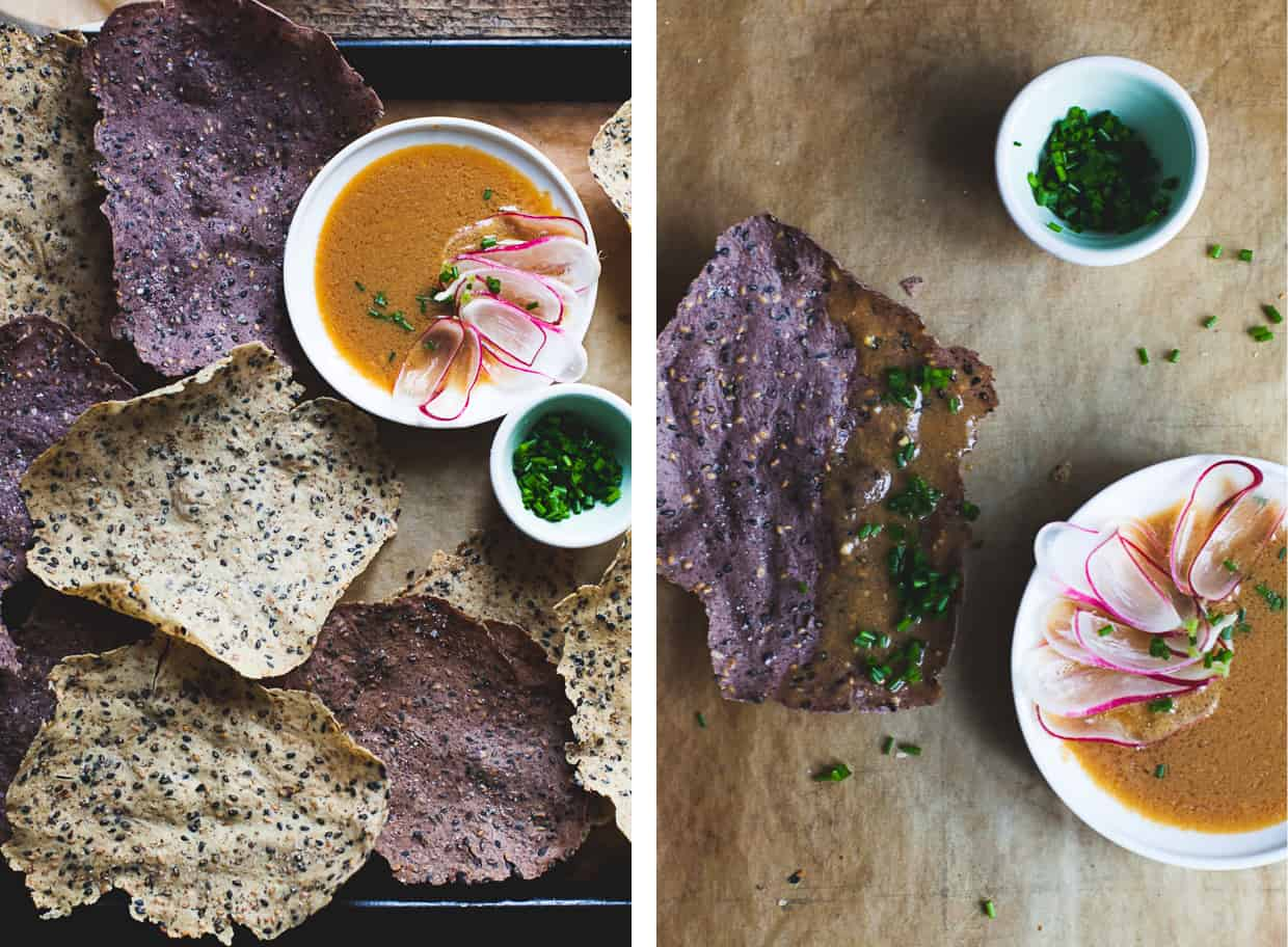 Black Sesame and Wild Rice Crackers & Ginger Miso Dip