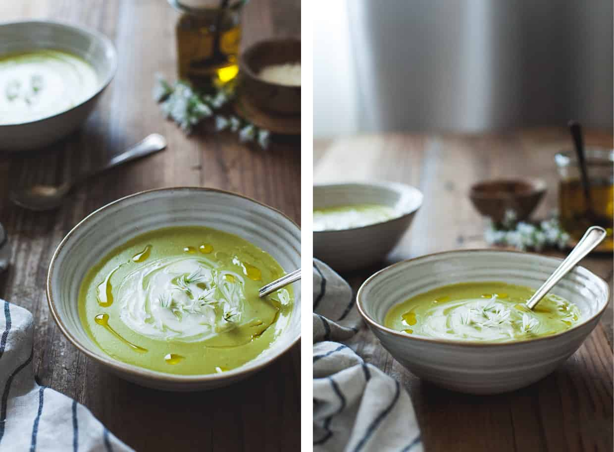 Fava Bean Soup with Thyme Olive Oil & Lemon Crème Fraîche