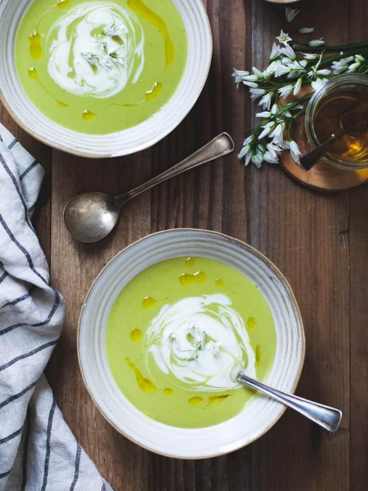 Fava Bean Soup with Lemon Crème Fraîche & Thyme Olive Oil