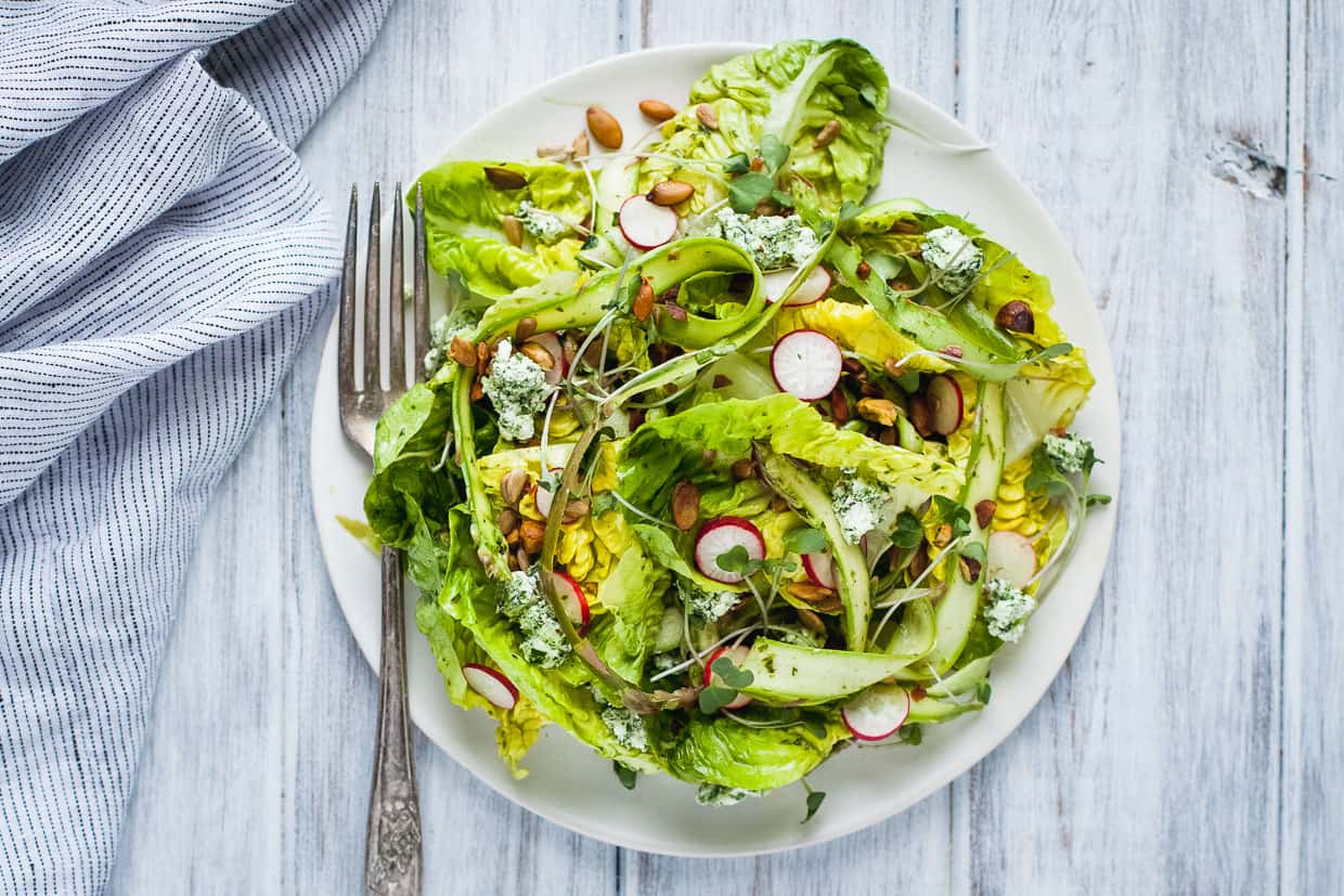 Little Gem Spring Salad with Toasted Seeds & Herbed Goat Cheese