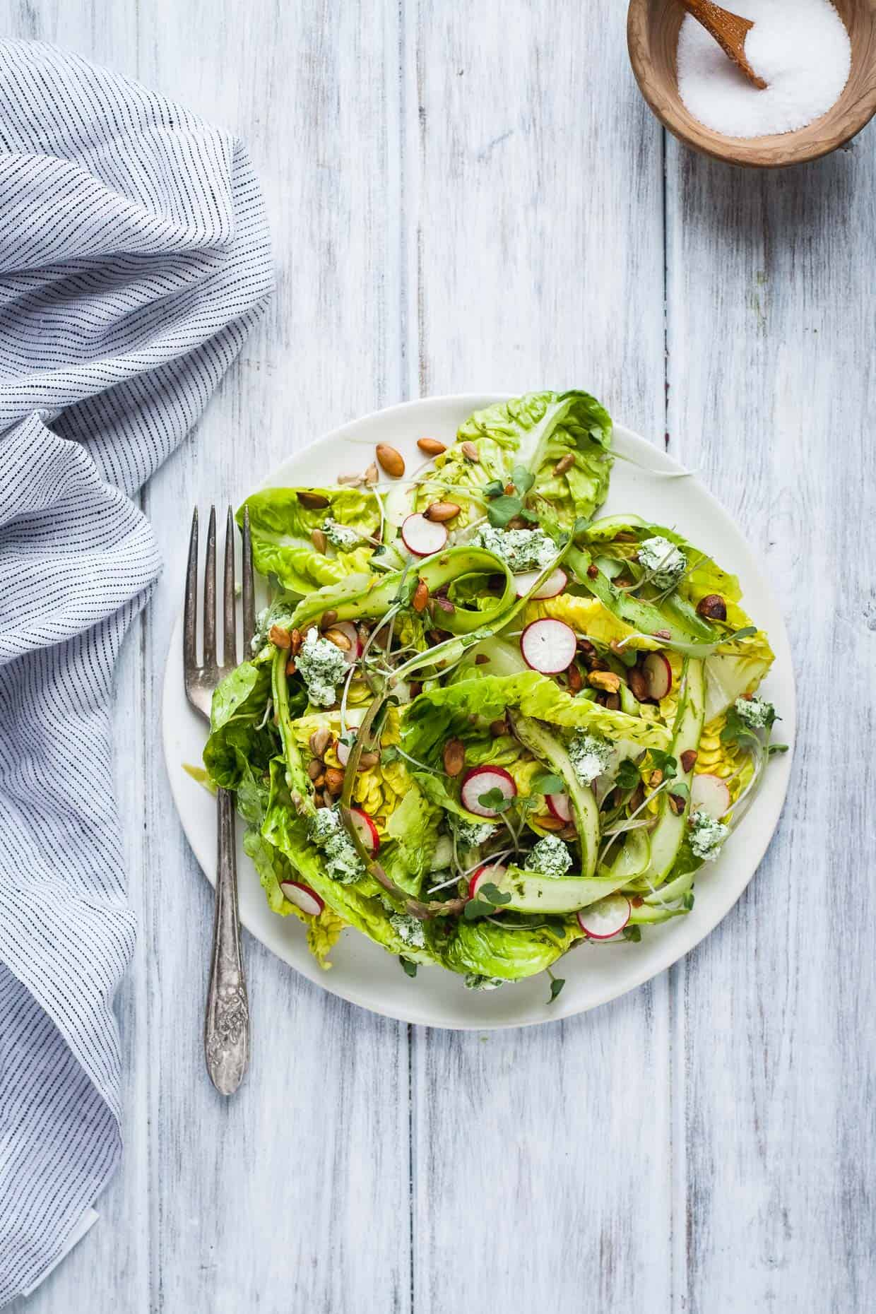 Little Gem Spring Salad with Toasted Seeds and Herbed Goat Cheese