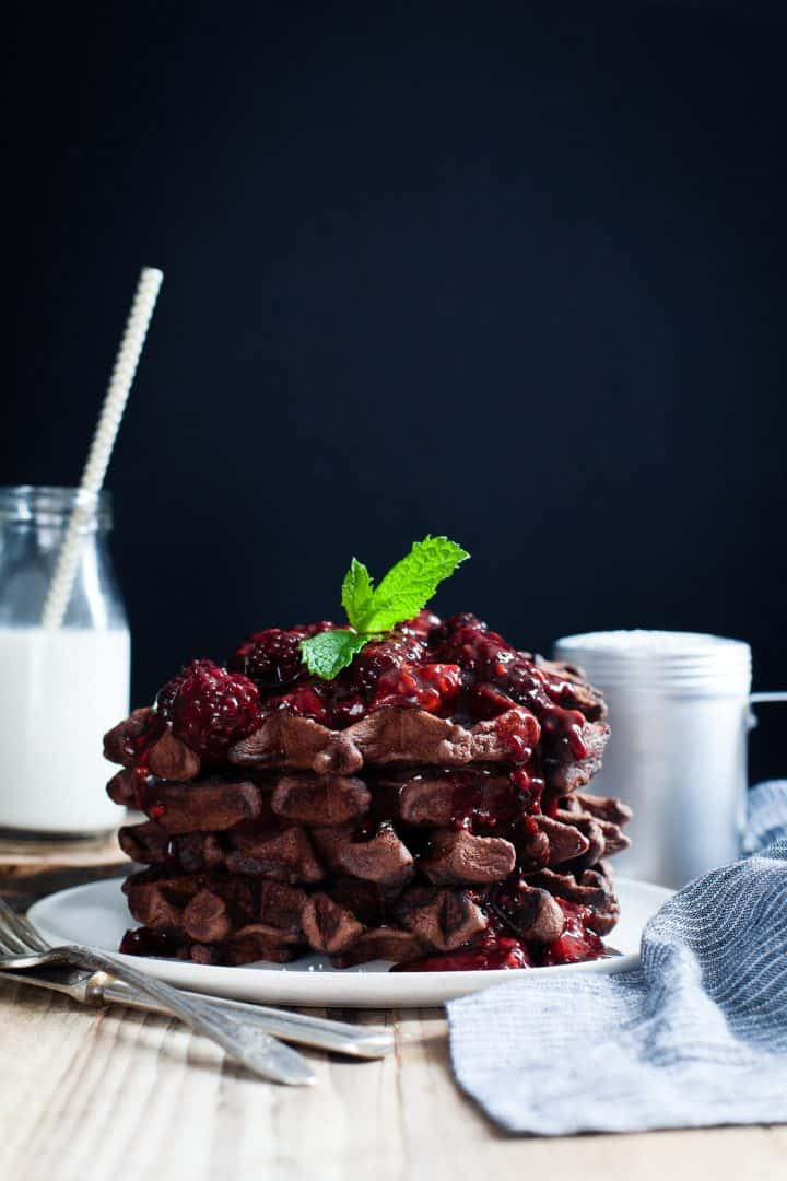 Chocolate Chestnut Waffles with Balsamic Roasted Berries