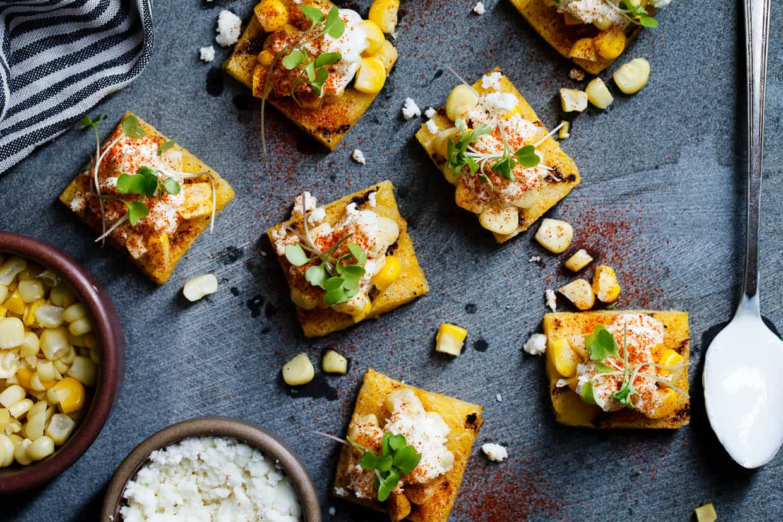 Mexican Street Corn Grilled Polenta Bites
