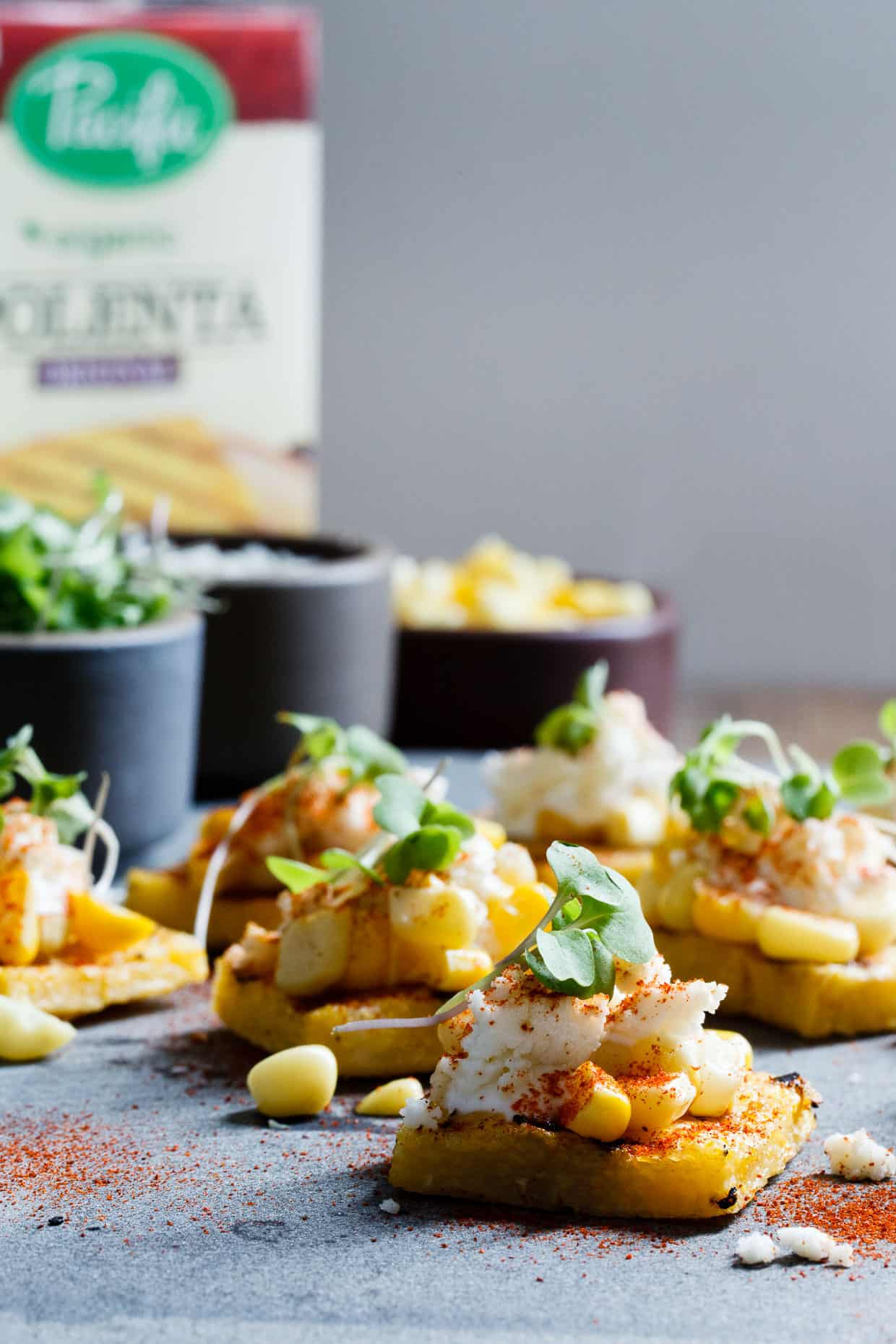 Mexican Street Corn Grilled Polenta Bites