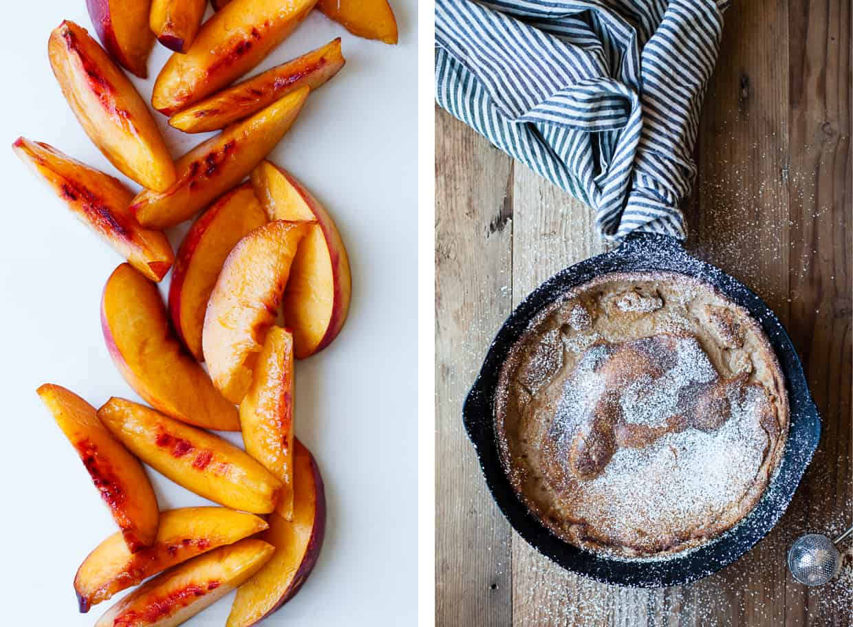 Chestnut Dutch Baby with Caramelized Nectarines