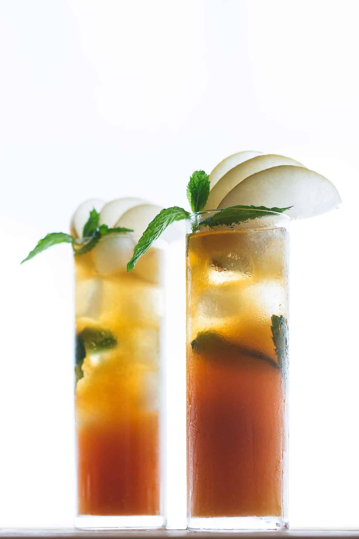 Sparkling Asian Pear and Mint Iced Tea