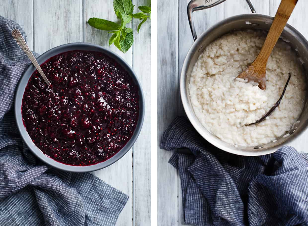 Coconut Rice Pudding with Mint Mulberry Compote