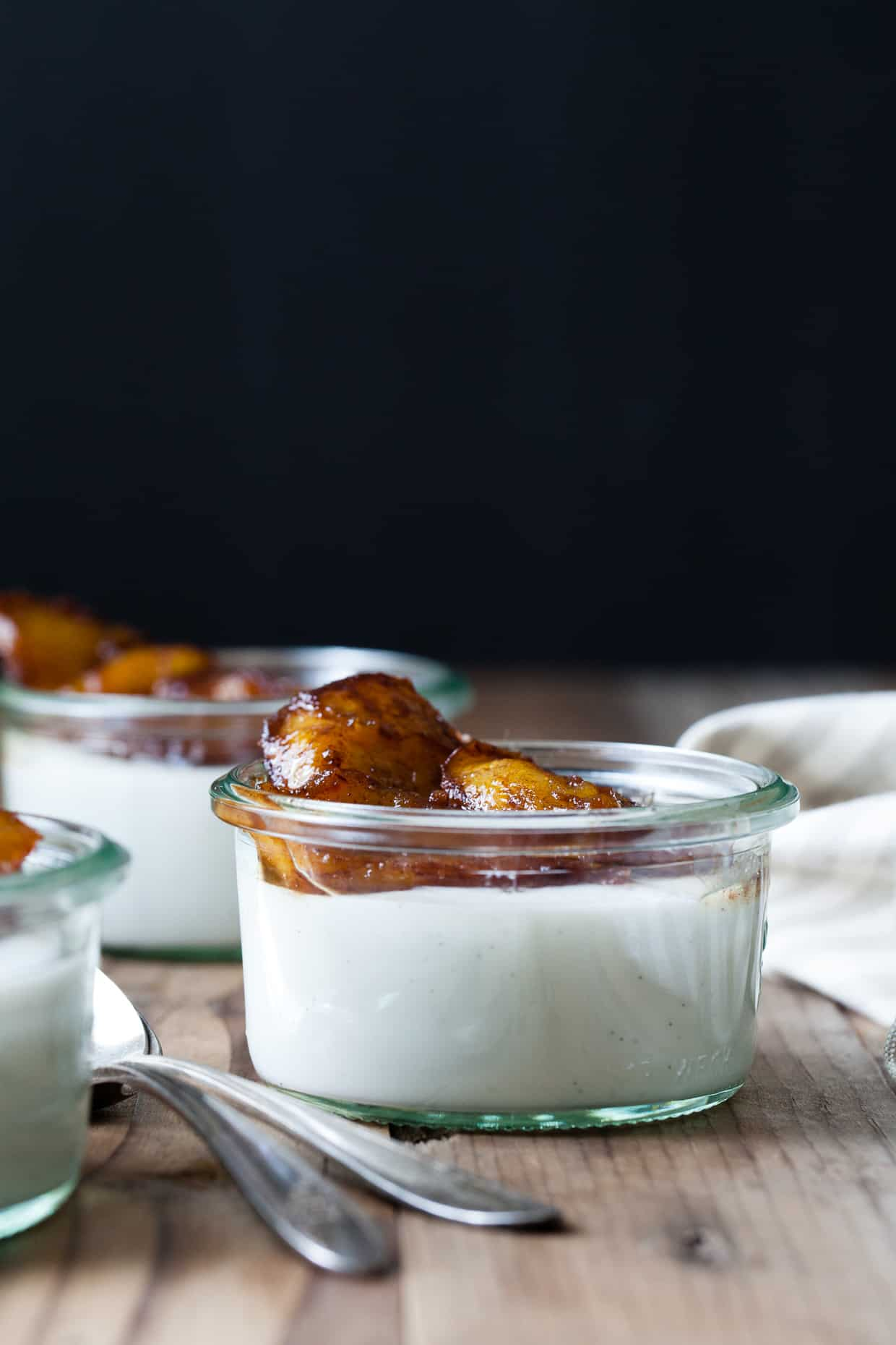 Vanilla Haupia Coconut Pudding with Caramelized Plantains