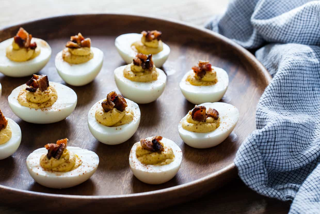 Butternut Squash Deviled Eggs with Bacon