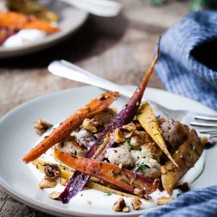 Za'atar Roasted Carrots & Cauliflower with Salted Yoghurt