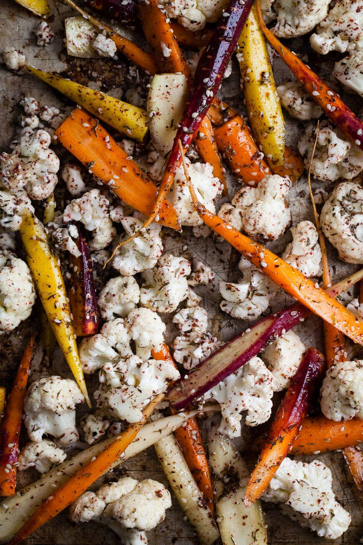 Za'atar Roasted Carrots and Cauliflower