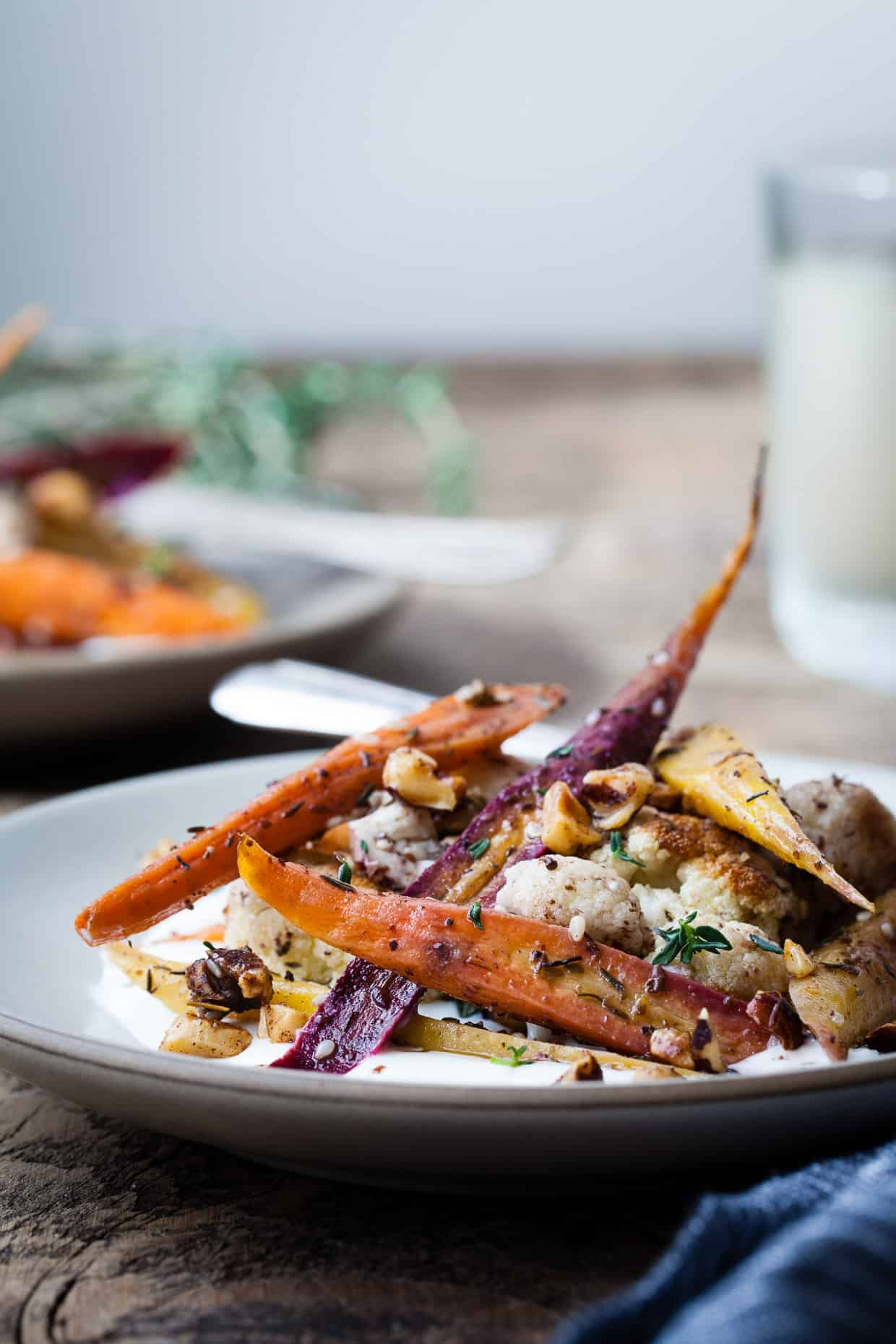 Za'atar Roasted Carrots and Cauliflower with Salted Yoghurt