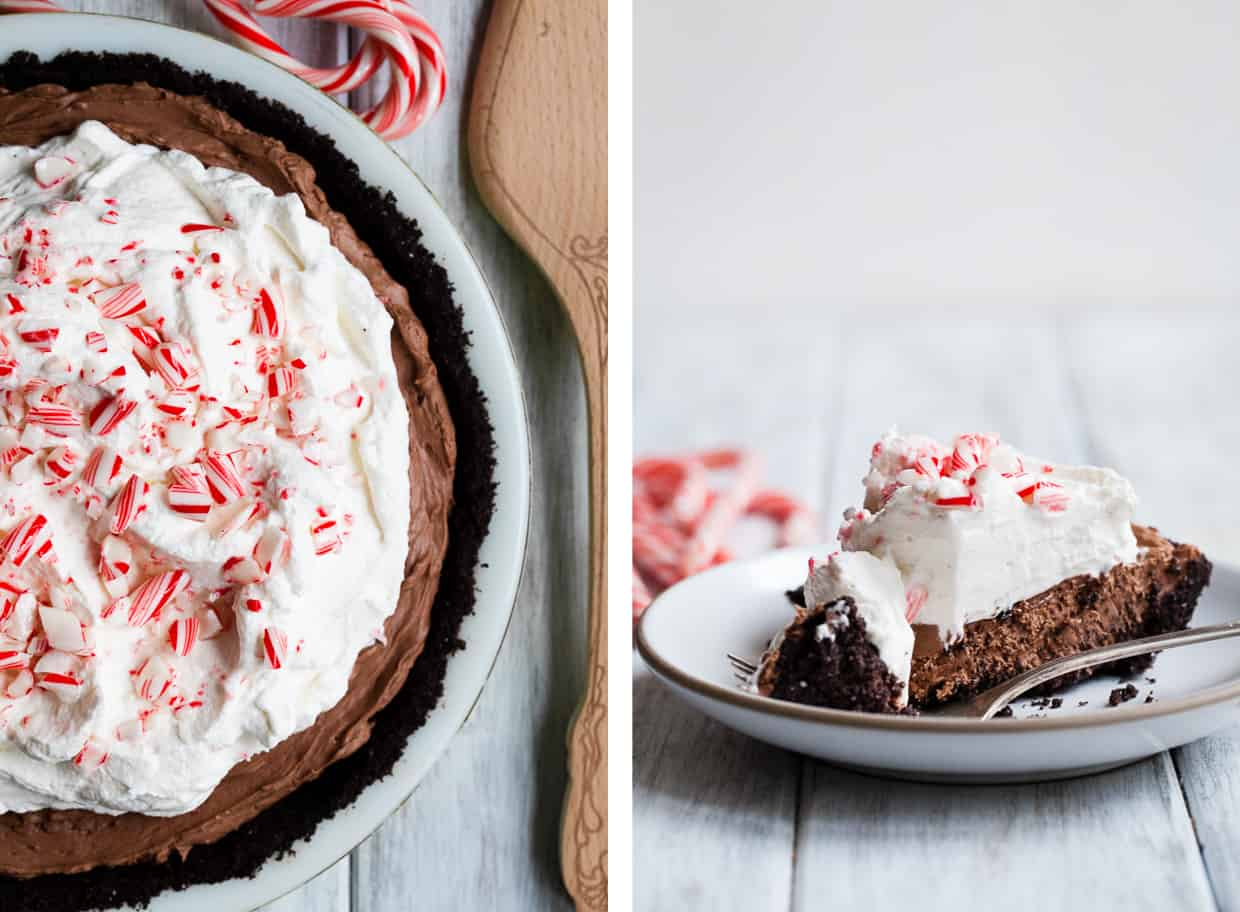 No-Bake Double Chocolate Cheesecake Pie with Peppermint Whipped ...