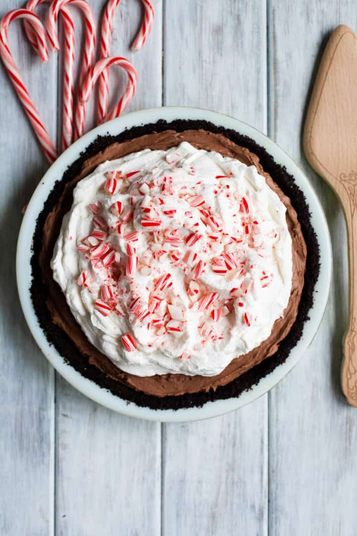 No-Bake Chocolate Cheesecake Pie with Peppermint Whipped Cream