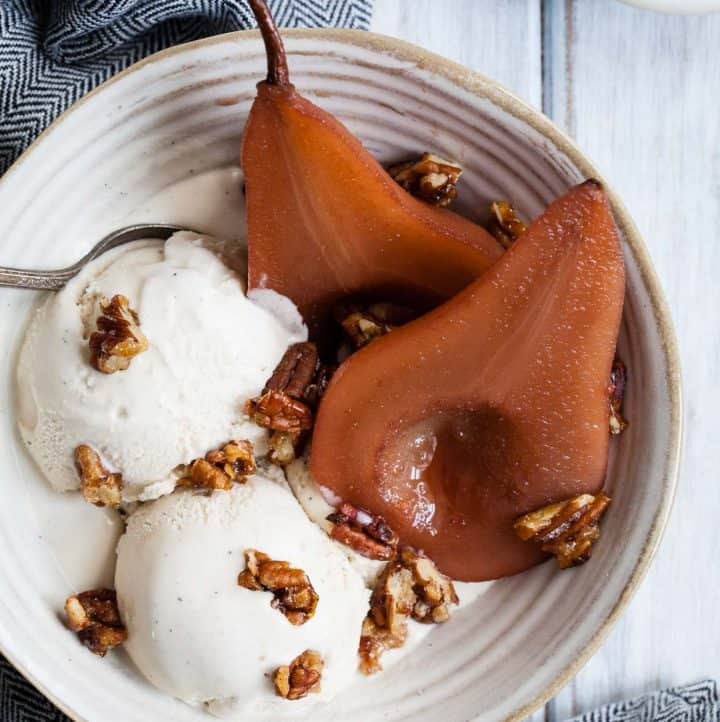 Mulled Pomegranate Cider Poached Pears
