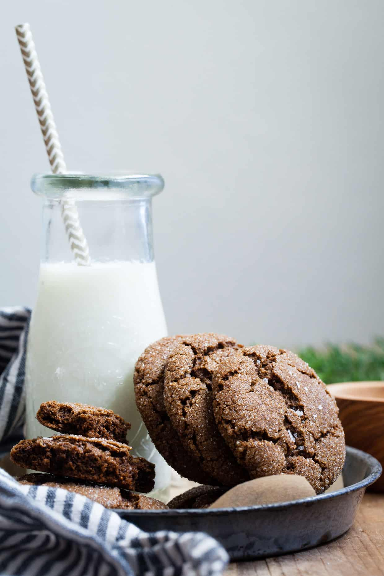 Salted Bacon Fat Ginger Molasses Cookies {gluten-free}