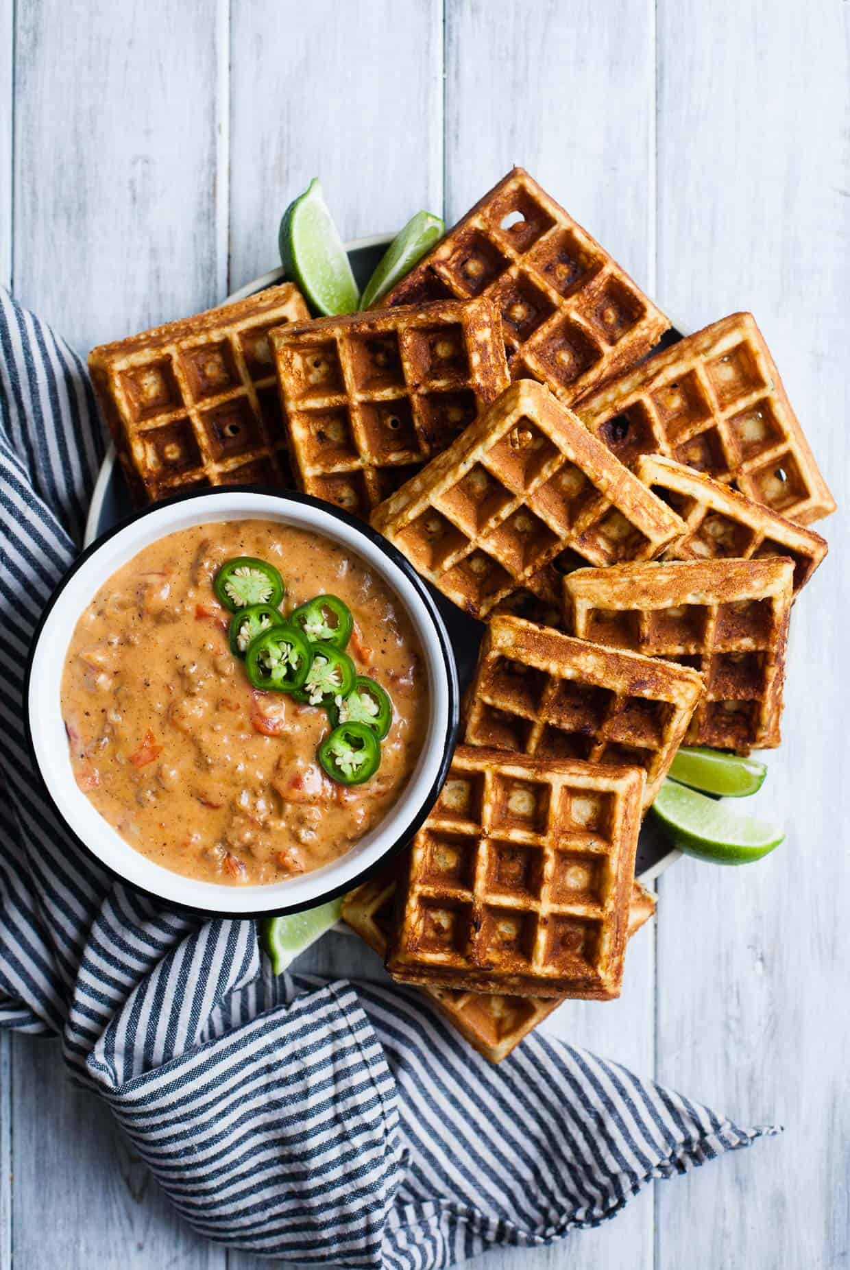 Cheddar Jalapeno Cornbread Waffles with Turkey Chile Con Queso Dip {gluten-free}