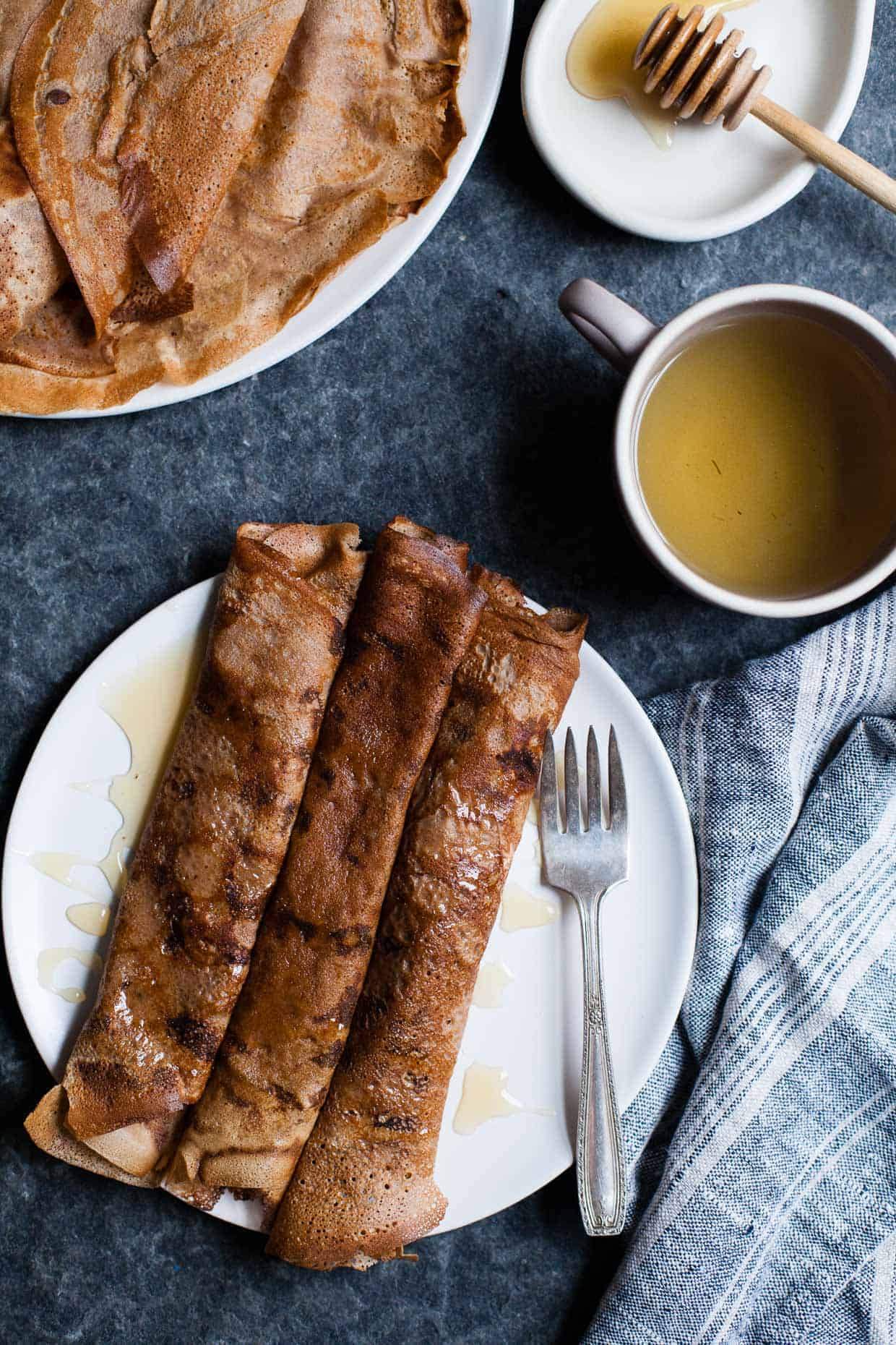Hazelnut Chestnut Crepes with Brie & Burnt Honey