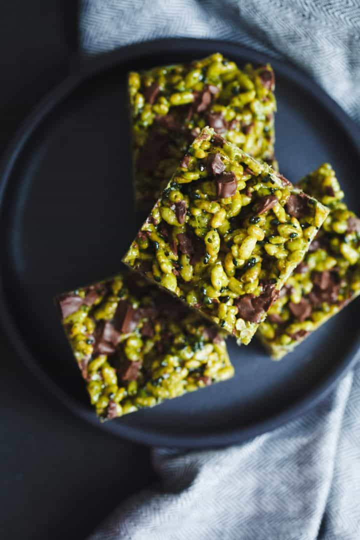 Matcha Black Sesame Chocolate Chunk Rice Krispie Treats